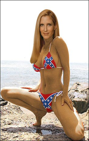 Ann Coulter's models a Confederate flag bikini after her recently completed breast augmentation surgery, the latest stage of her ongoing sex change and gender reassignment surgery. Soon her life-long dream of being a woman will become a reality! (Coulter: 'Thank you for not staring at my adam's apple.')
